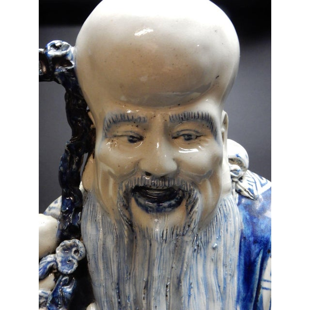 Antique Chinese Blue and White Porcelain Statue of Shoulao 32 Inches For Sale - Image 10 of 13