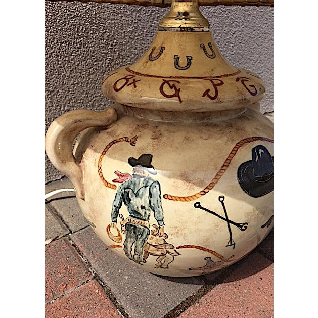 Rustic Hand Painted Western Table Lamp For Sale - Image 3 of 8