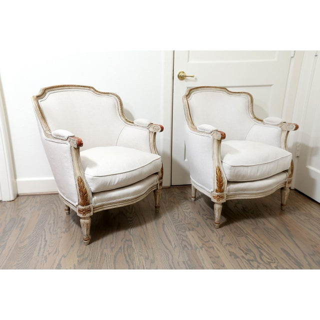 Pair of French Bergères For Sale - Image 10 of 10