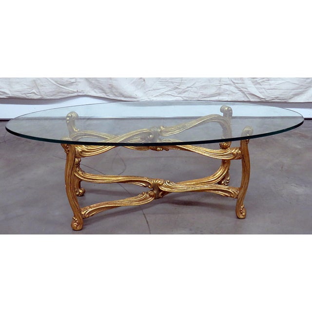 Hollywood Regency Glass Top Coffee Table For Sale - Image 9 of 9