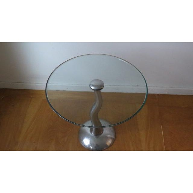 1980s 1980s Modern Aluminum and Glass Side Table For Sale - Image 5 of 6