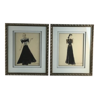 1940s Vintage Lisel Salzer Austrian Signed & Framed Double Matted Fashion Paintings - A Pair For Sale