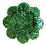 Image of Portuguese Green Majolica Plate For Sale