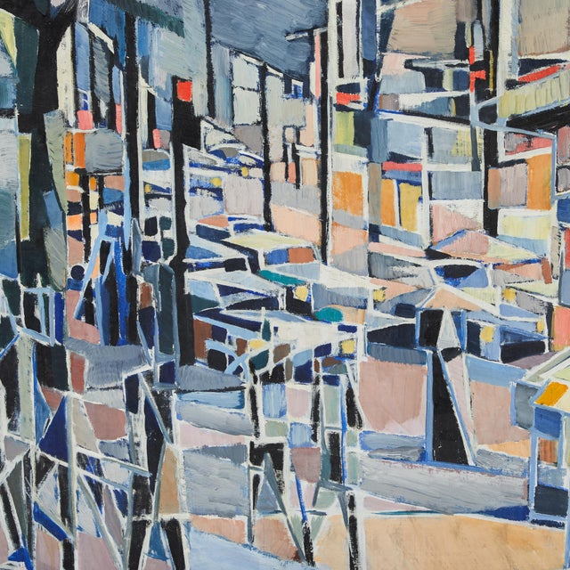 """Oil painting on canvas titled """"Paris Boulevard by Night"""" by artist Jean Lamorlette circa 1960."""