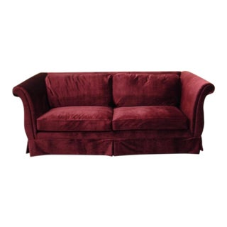 1940s Art Deco Burgundy Velvet Sofa For Sale