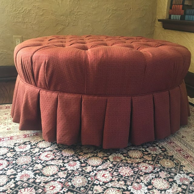 "Ethan Allen Ethan Allen 37"" Round Red Tufted Cocktail Ottoman For Sale - Image 4 of 13"
