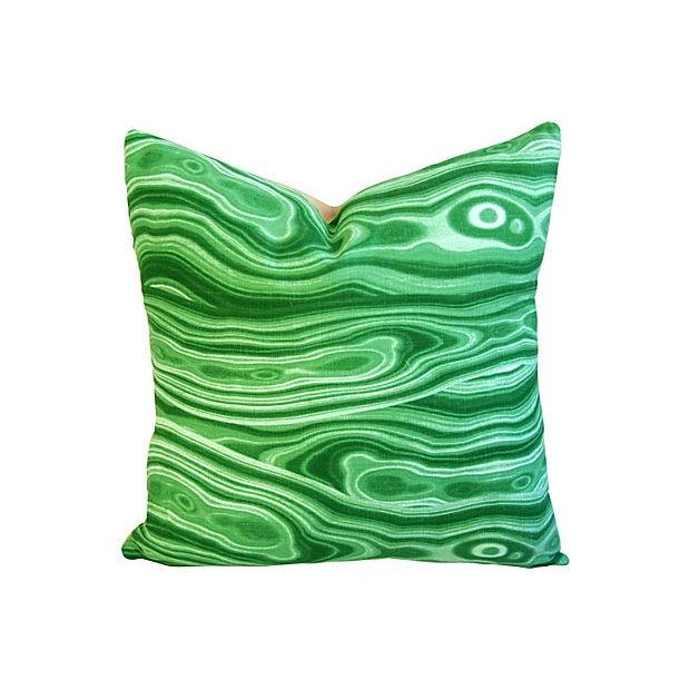 Custom Designer Emerald Malachite Pillows - Set 3 - Image 6 of 6