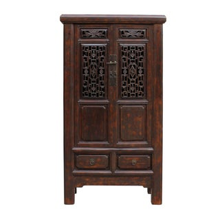 Chinese Distressed Brown Floral Motif Storage Cabinet For Sale