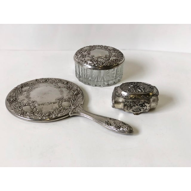 Three Piece Silverplate Dresser Set - Set of 3 For Sale - Image 4 of 11