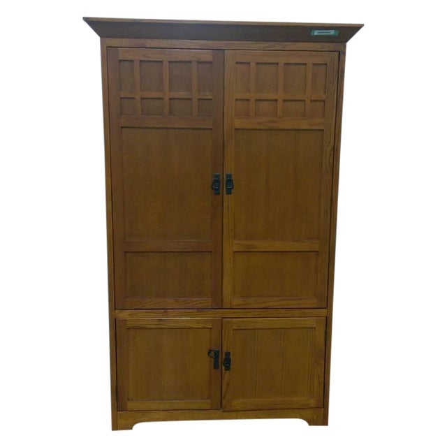 Contemporary Carved Maple Wooden Armoire - Image 1 of 4