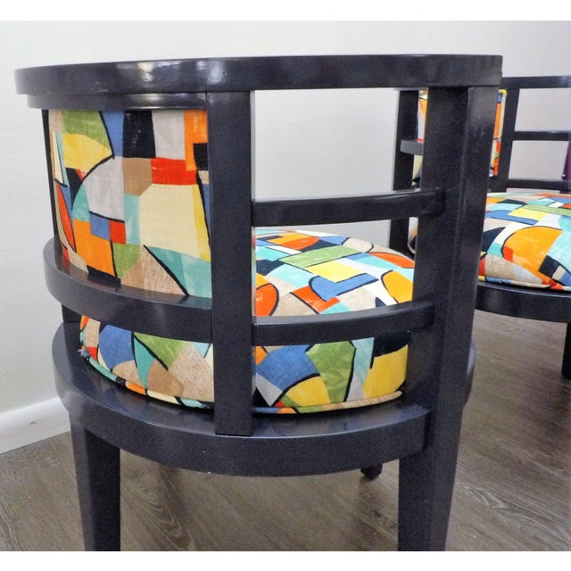 Contemporary Modern Barrel Style Modern Chairs - a Pair For Sale - Image 3 of 7