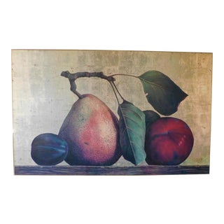 Vintage Oversized Acrylic Fruit Art Still Life For Sale