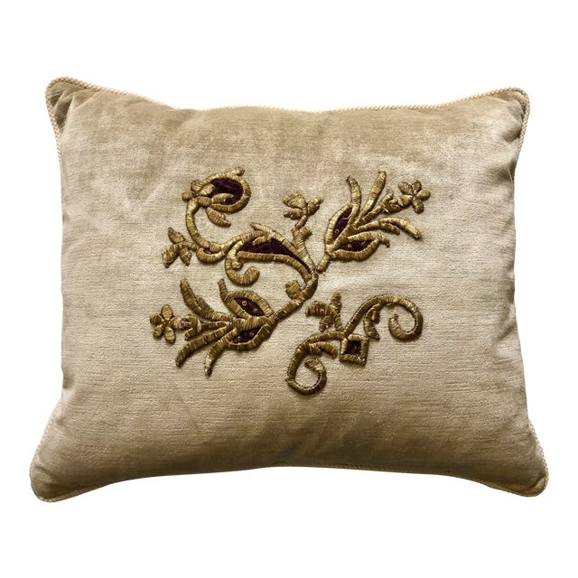 Velvet Pillow With 19th Century Metallic Gold Wire Floral Embroidery For Sale