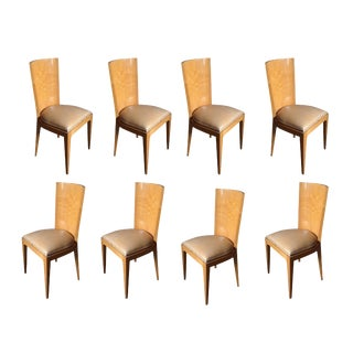 Set of Eight Oak Finish Dining Chairs For Sale