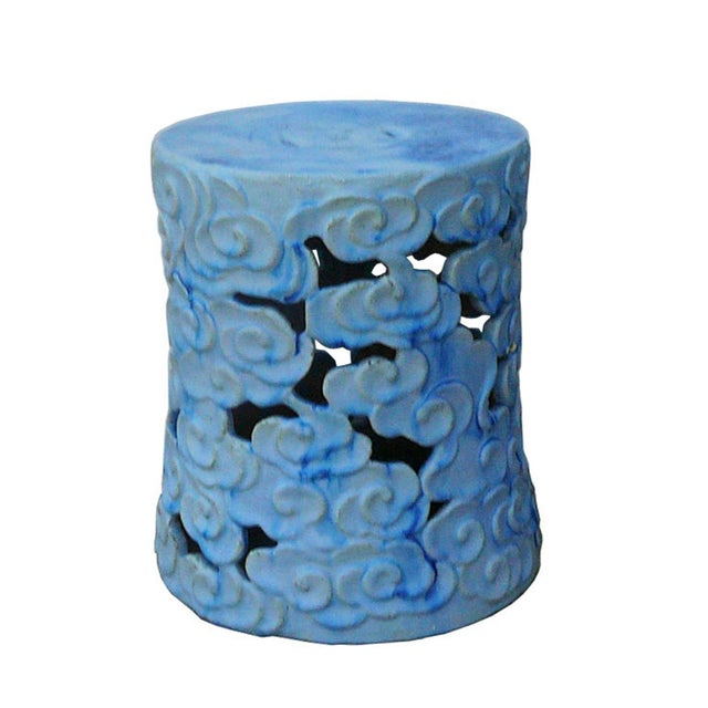 Ceramic Clay Light Blue Glaze Round Scroll Pattern Garden Stool For Sale In San Francisco - Image 6 of 6