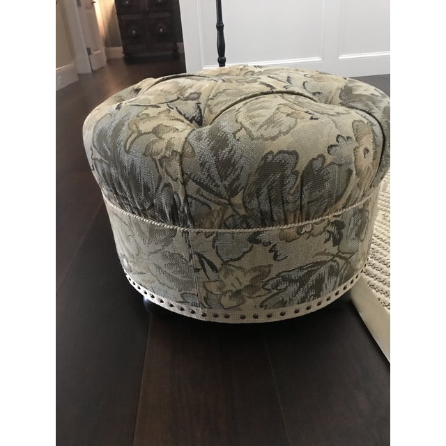 Vintage Fabric Upholstered Foot Stool/Ottoman For Sale - Image 9 of 13