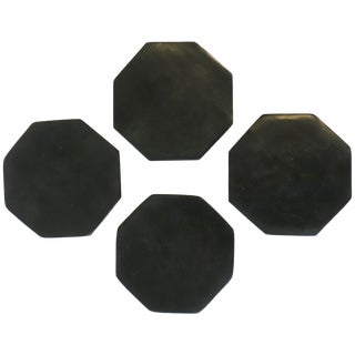 Black Stone Octagonal Cocktail or Drinks Coaster Set For Sale