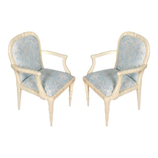 Pair of Serge Roche Armchairs in China Seas Fabric For Sale