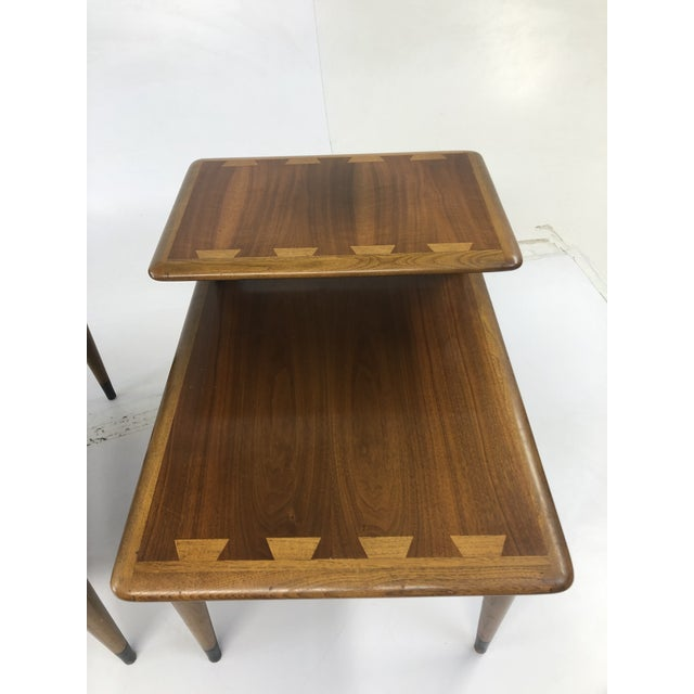 Brown Vintage Mid Century Modern Step Tables - a Pair - Acclaim by Lane Furniture For Sale - Image 8 of 13