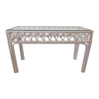 1980s Boho Chic Rattan Console Table For Sale