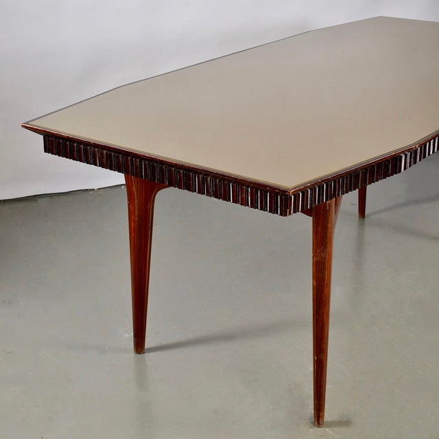 Wood Mid-Century Italian Dining Table With Green Glass Top and Fluted Edge For Sale - Image 7 of 11