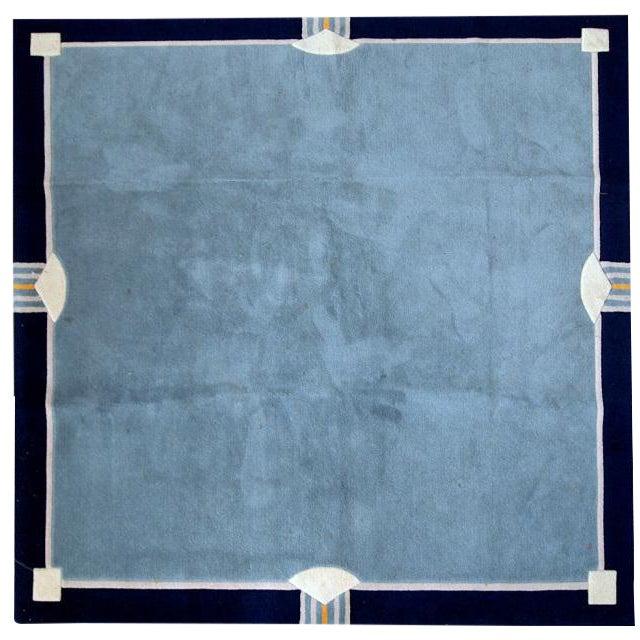 1970s Vintage Tibetan Khaden Handmade Square Rug - 6′6″ × 6′6″ For Sale