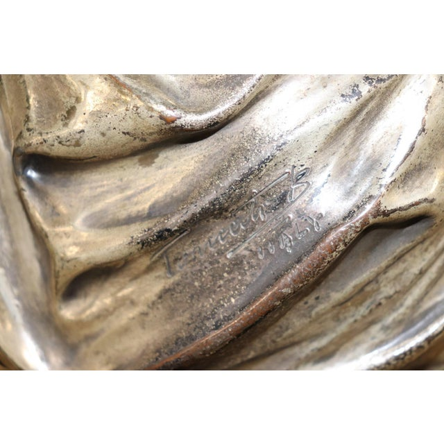 Figurative 20th Century Italian Sculpture in Silvered Clay Figure of a Lady by B Tornati For Sale - Image 3 of 12