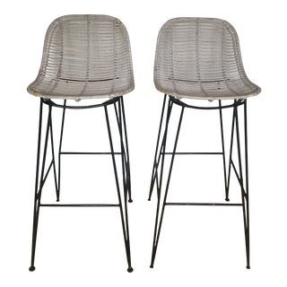 1970s Vintage Rattan and Metal Bar Stools - a Pair For Sale
