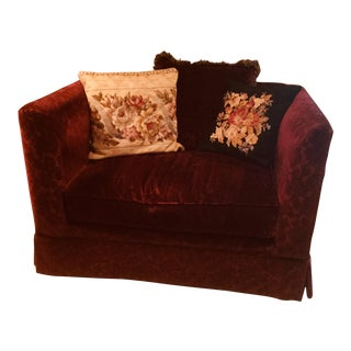 Bordeaux Cotton Velvet Damask Chair & a Half For Sale