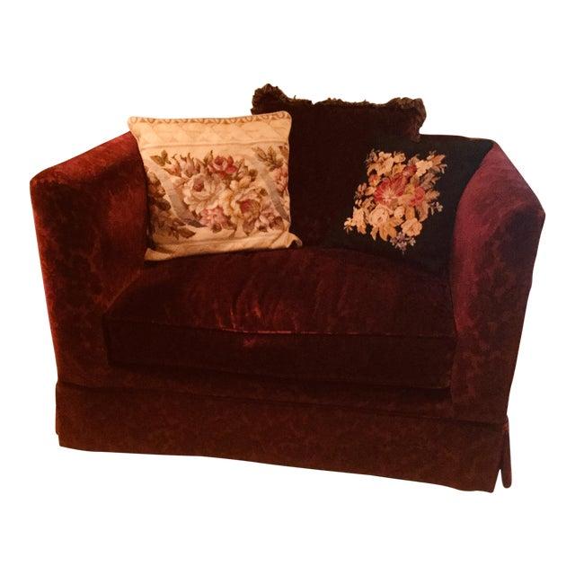 Bordeaux Cotton Velvet Damask Chair & a Half For Sale