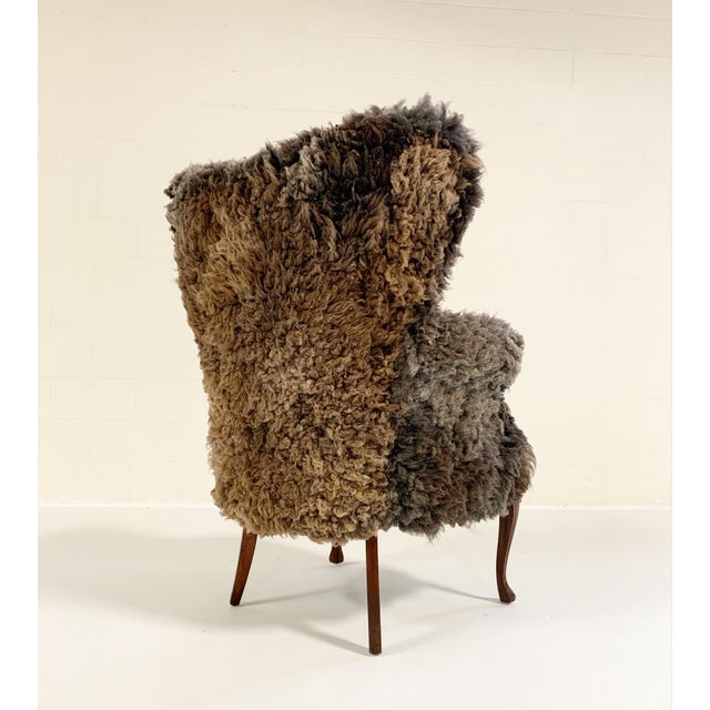1990s Vintage Nick Cave Wingback Armchair Restored in California Sheepskin For Sale - Image 5 of 11