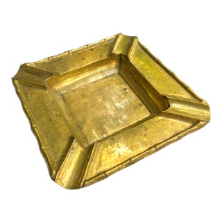 Chinoiserie Faux Bamboo Large Brass Ashtray For Sale