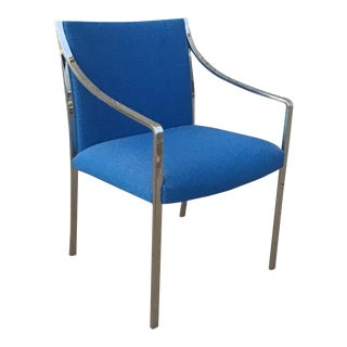 1970s Vintage Stow & Davis Chrome and Blue Upholstered Armchair For Sale