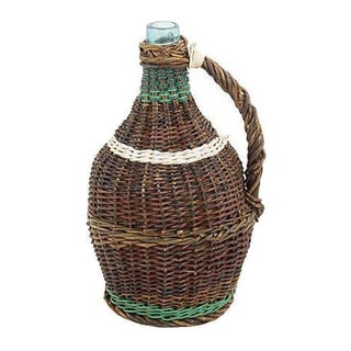 French Wicker-Wrapped Glass Demijohn For Sale