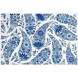 Image of Contemporary Raoul Textiles Kashmir Delft Linen Designer Fabric by the Yard For Sale