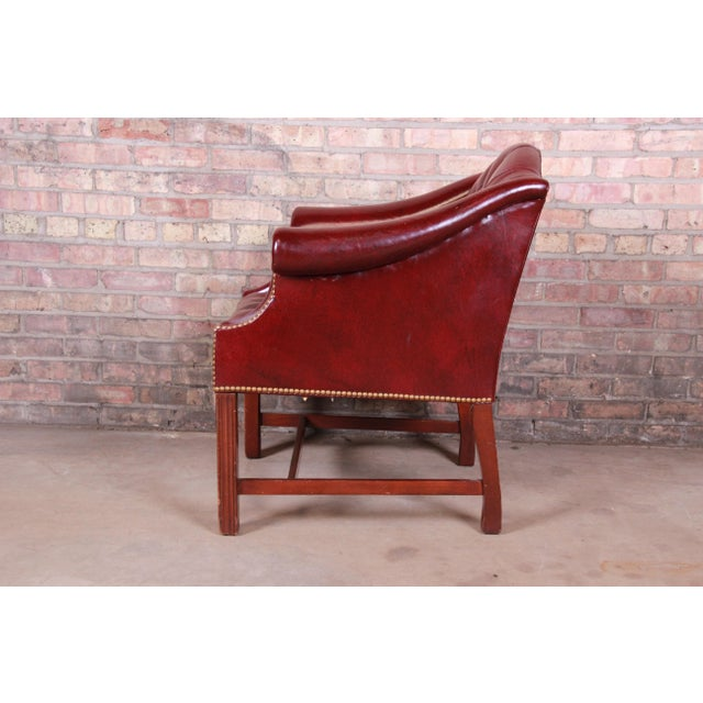 Burgundy Hancock & Moore Chesterfield Tufted Leather Club Chair For Sale - Image 8 of 11
