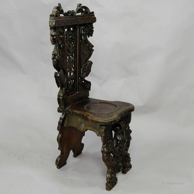 Black A Great Renaissance Style Italian Sgabello Chair Ca. 1860 For Sale - Image 8 of 13