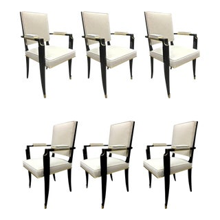 Maurice Jallot Set of 6 Black Neoclassic Chairs With Gold Bronze Details For Sale
