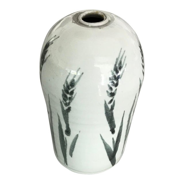 1970s Folk Art White Ceramic Bud Vase For Sale