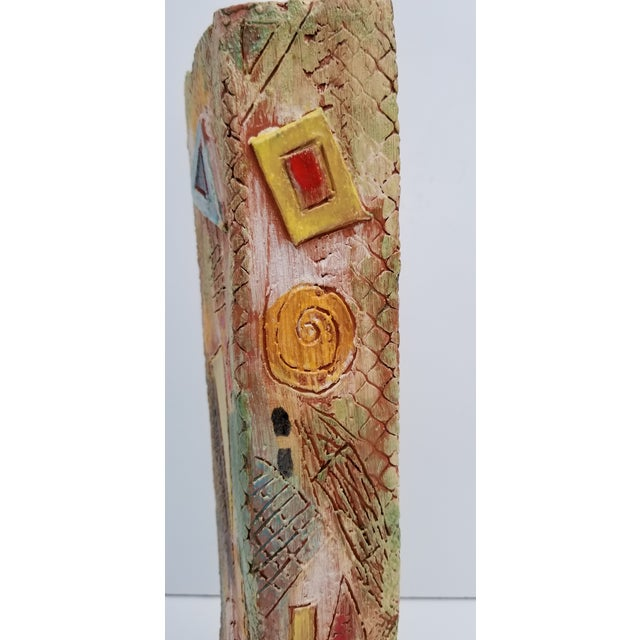 1980s 1980s Brutalist Hand-Painted Cubist Shape Pottery Vase For Sale - Image 5 of 12