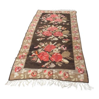 Rose Motif Woven Wool Rug - 6′6″ × 15′ For Sale