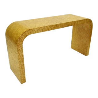 Karl Springer Style Modern Waterfall Console Table in Two Tone Herringbone Pattern Caning. For Sale