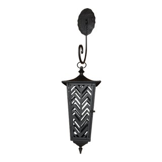 Late 20th Century Moroccan-Inspired Zig Zag Cutout Tin Lantern With Wrought Iron Medallion Hanger - 2 Piece Set For Sale