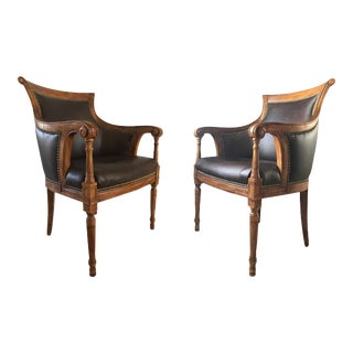 1950s Regency Mahogany Curved Back Club Chairs - a Pair For Sale