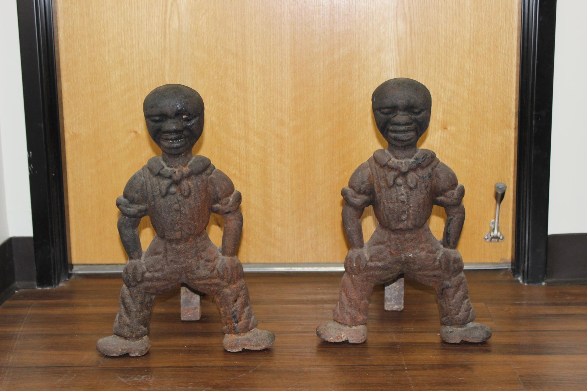 19th century antique black americana cast iron fireplace andirons rh chairish com Old Andirons Andirons Africa