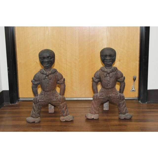 These unusual andirons were acquired by our company from a local client in Orange, CA. Her mother was an avid antique...