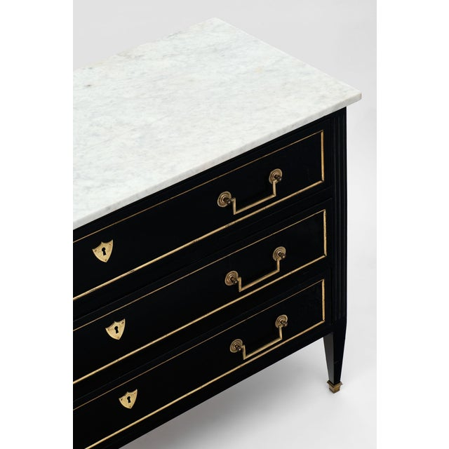 French Louis XVI Style Antique Ebonized Chest with Carrara Mable Top For Sale - Image 3 of 10