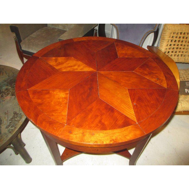 Italian Parquetry Walnut Center Table With Starburst Pattern For Sale - Image 3 of 4