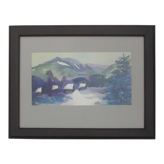 Snowscape Painting Winter Mountain Cabin Snow Scene Watercolor For Sale