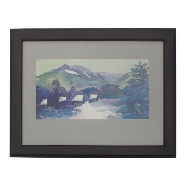 Snowscape Painting Winter Mountain Cabin Snow Scene Watercolor Chairish